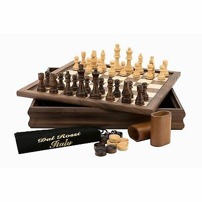 Dal Rossi Chess Checkers Backgammon in Flip Top Board Box