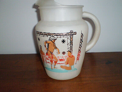 Vtg Bonded Oil Co. Famous Ohio Indians Frosted Glass Pitcher + 6 Glasses Rare