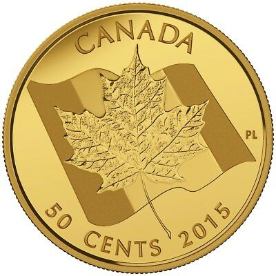 Canada 2015 50 Cent Maple Leaf 1.27 Gram Pure Gold Coin RCM No Tax