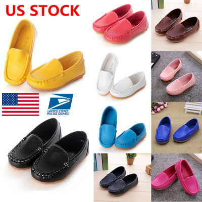 US Kids Boys Girls Toddler Slip On PU Leather Flat Loafers Casual Boat Shoe Size