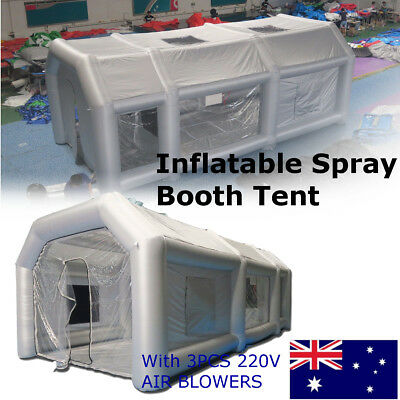 AU Grey Portable Giant Oxford Cloth Inflatable Tent Spray Paint 2*220V Blowers