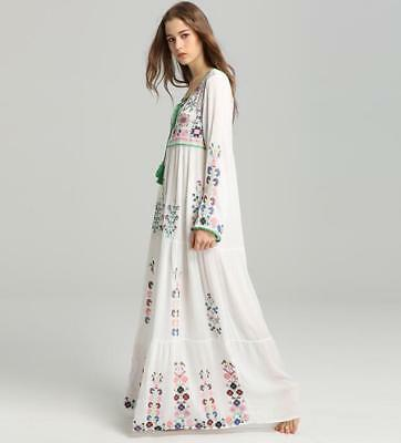 New Women Floral Pattern Embroidered long Boho Maxi flower Beach Dress Casual