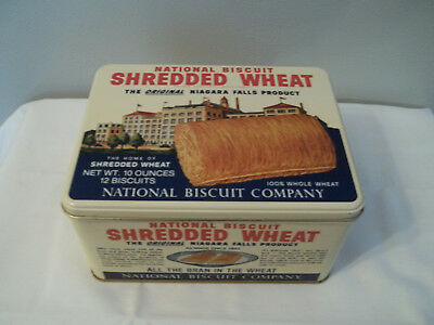 "1987 Nabisco National Biscuit Shredded Wheat Tin Repo 8"" Long"