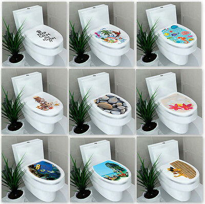 New 3D Toilet Seat Wall Sticker Bathroom Decal Vinyl Mural Home Decor US Seller