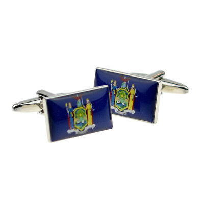 New York US State Flag Cufflinks Presented in a Cufflink Box X2BOCFUS032