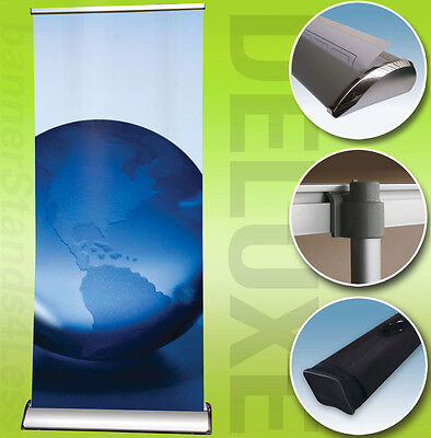 24x79 DELUXE Retractable Banner Stand Roll Up Trade Show Display, Free Print