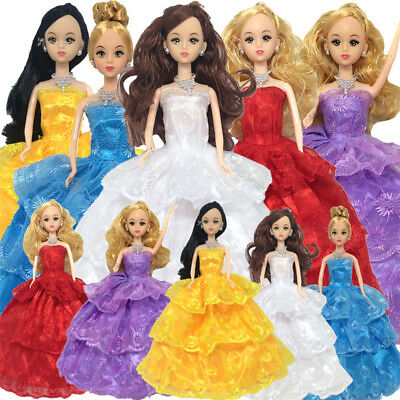 Handmade 3 Layers Wedding Dress Party Gown Clothes Outfits For Barbie Doll GiftB