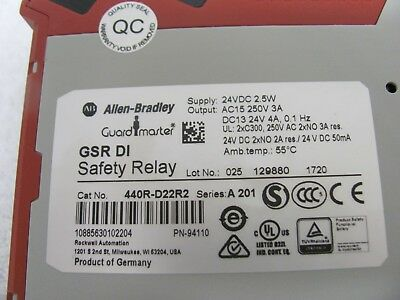 ALLEN BRADLEY GUARDMASTER 440R-D22R2 GSR DI SER A  SAFETY RELAY 24VDC free ship