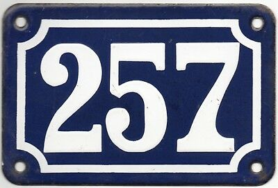Old blue French house number 257 door gate plate plaque enamel steel metal sign