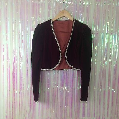 vintage 80s red velvet cropped jacket gold roping long sleeve womens T29