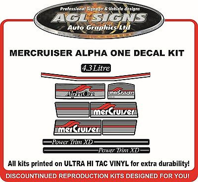 Mercury Alpha one Outdrive 10 Piece Reproduction Decal Kit Mercruiser 4.3 Litre