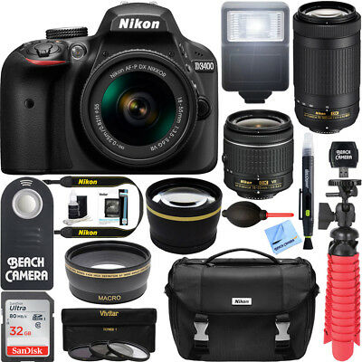 D3400 Nikon DSLR Camera w/ AF-P DX 18-55mm & 70-300mm Dual Lens Accessory Bundle