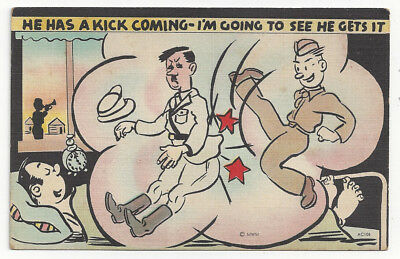 World War 2 II Comic Military Postcard He Has a Kick Coming     # G20