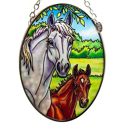 """Horse Mare and Foal Suncatcher Hand Painted Glass AMIA Studios 4.5"""" x 3.25"""""""
