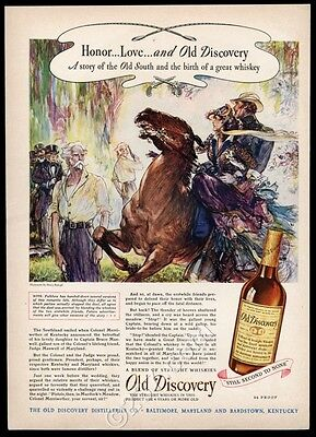 1944 Old Discovery straight whiskey Henry Raleigh duel art vintage print ad
