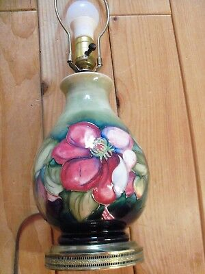 English Moorcroft Pottery Flambe Lamp in 'Anemone' Pattern