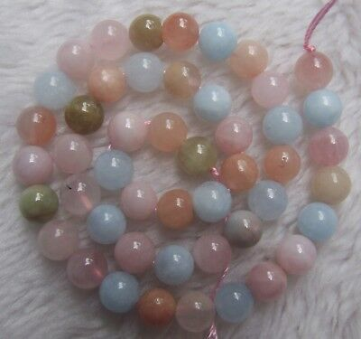 4mm 6mm 8mm 10mm 12mm Natural Morganite Round Loose Beads 15.5""