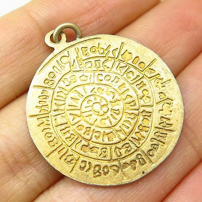 Vtg 925 Sterling Silver Gold Plated Spiral Ancient Runes Pendant