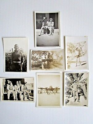 Vintage Real Photo Of Australian Soldiers In Uniform & Rest - Aircraft Photo