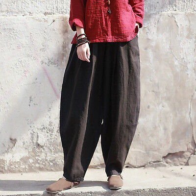 Ethnic Womens Wide Leg Retro Cotton Linen Loose Casual Knickers Bloomers Pants
