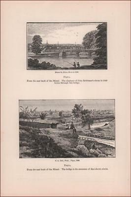 PIQUA, OHIO, ANTIQUE VIEW OF TOWN in 1846 & 1886 published 1896