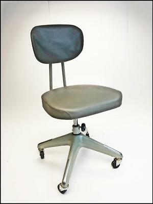 Vintage INDUSTRIAL CHAIR desk office swivel tanker mid century gray adjustable 2