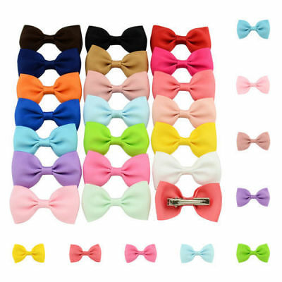 20Pcs Hair Bows Band Boutique Alligator Clip Grosgrain Ribbon For Girl Kids #z