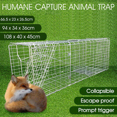 Animal Trap Cage Possum Fox Rat Cat Rabbit Catch Folding Humane Live 3 Size