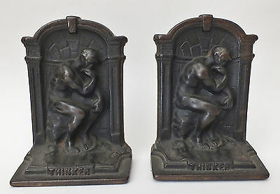 Bronze The Thinker Auguste Rodin 1920s Bookends Nude Male Brass Antique