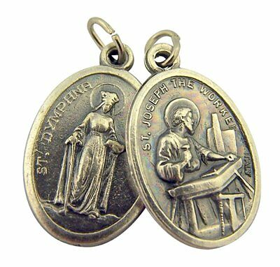 Silver Toned Base Saint Dymphna with St Joseph the Worker Medal, 1 Inch,Set of 2