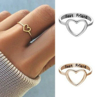 Women Love Heart Best Friend Ring Promise Jewelry Friendship Rings Bands Gift