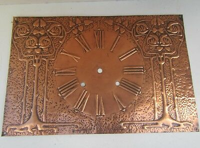 Old Original Art Nouveau Solid Copper Decorative Clock Face