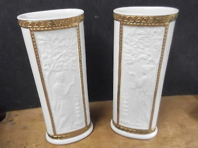 Lovely Pair  of Mottahedeh Design Vases--Ancient Roman Motif--Fabulous!!