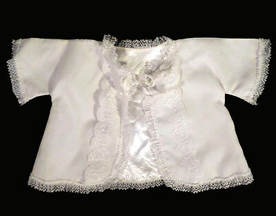 Adorable Vintage 40s White Layette Top Fancy Christening Dolls Photography 3-6m