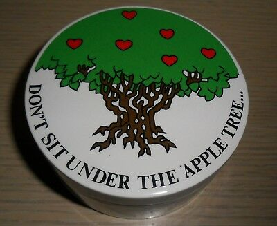 1978 Fitz and Floyd Lidded Ceramic Box ~ Don't Sit Under The Apple Tree ....