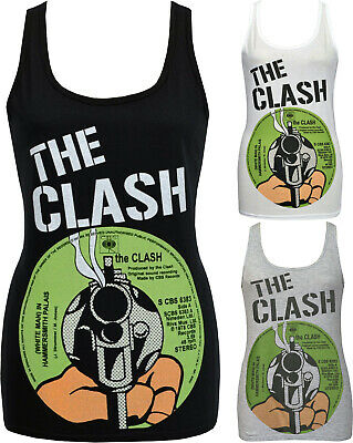 LADIES TANK TOP CLASH WHITE MAN IN HAMMERSMITH PALAIS RECORD COVER PUNK 77 S-2XL