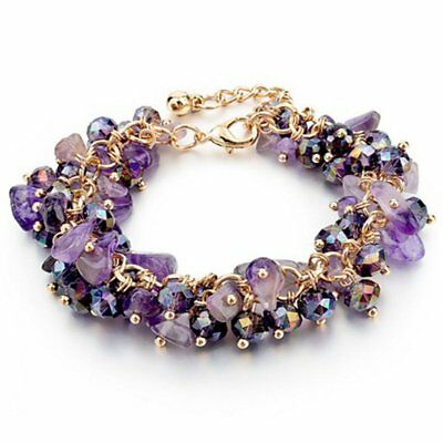 Stretch Natural Crystal Stone Chipped Raw Bracelet Women Quartz Bangle Jewelry