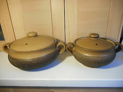 Denby Cotswold Brown Textured & Oatmeal Large & Small Tureens 1970's 1980's