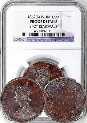 British India 1862 Proof 1/2 Half Anna NGC Proof - Rare in Proof!