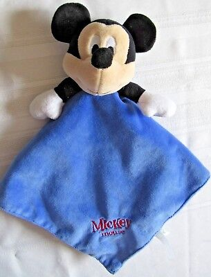 """Disney Mickey Mouse Blue Infant Plush Security Blanket Lovey 15"""" X 15"""""""