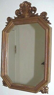 Vintage Hollywood Regency Style Fancy Ornate Gold Framed Accent Wall Mirror