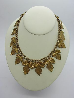 """Antique Victorian 15"""" Brass Gold Plated Collar Necklace with Dangling Leaves"""