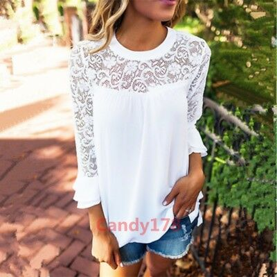Lace Trim Hollow Out Flare Sleeve Womens Top Blouse Fashion Chic Casual Date New