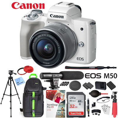 Canon EOS M50 Mirrorless Digital Camera + 15-45mm Lens Microphone Bundle White
