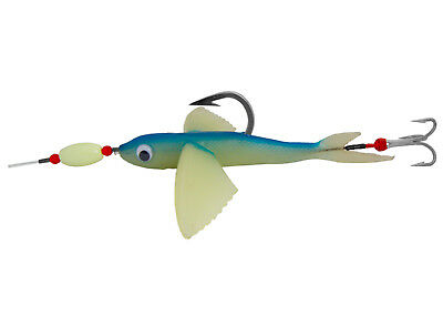 """ONE (1) Flying Fish 8"""" Blue / Glow Rigged for Giant COW Tuna"""