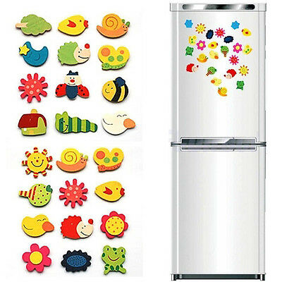 12PC Animal Wooden Fridge Magnet/Glue Sticker Refrigerator Education Toy Home