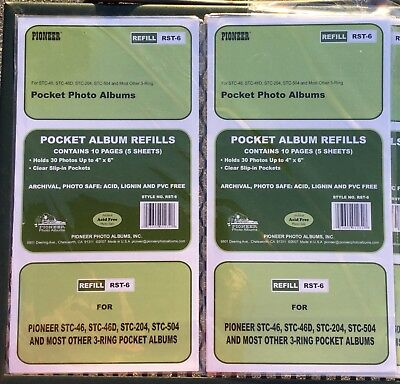 Pioneer RST-6 4x6 Photo Album Refill Pages STC46, 46D, 204 & STC04 Lot 14 Sheets