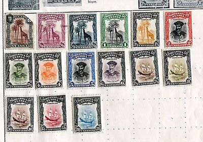 Mint hinged, ¼ to 20 centavos, perfect stamps of Nyassa on old album page.