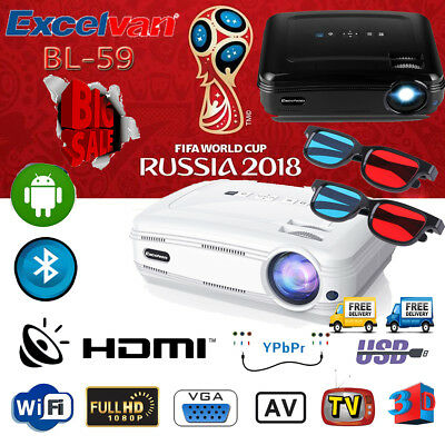 4K Android6.0 1+8GB Proyector WiFi BT 3D 1080P Multimedia Pantalla del proyector