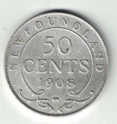 Newfoundland 1908 50 Cents King Edward Vii Canadian Sterling Silver Coin
